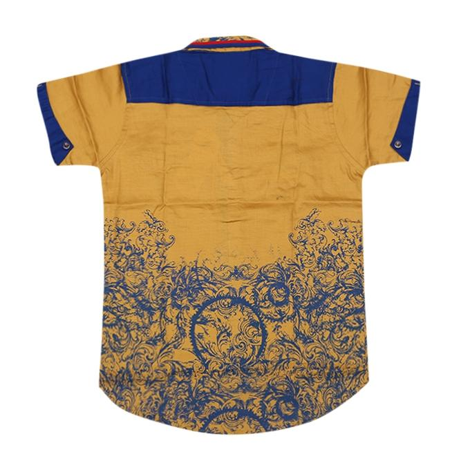 Golden Rod and Blue Cotton Casual Short Sleeve Shirt For Boys