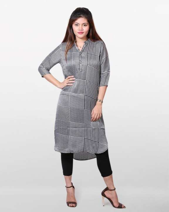 Silk Casual Long Sleeves Long Tunic - Black and White