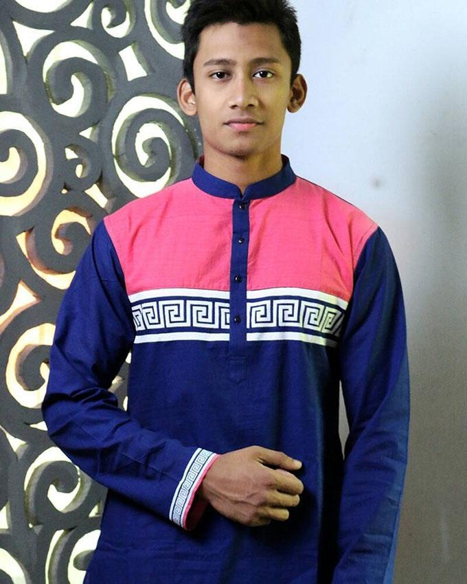 Cotton Panjabi For Men - Navy Blue and Pink