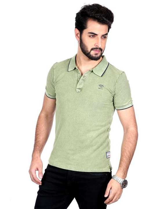 Tanjim Light Olive Cotton Casual Polo For Men