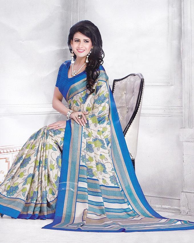 Fashionable Pure Tossor Saree - Blue and White