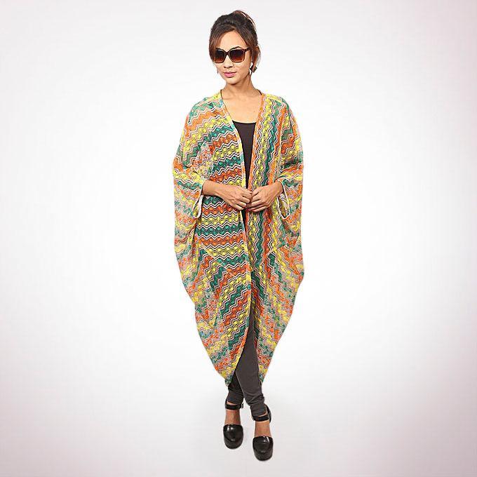 Multi-color Crochet Cotton Outerwear For Women