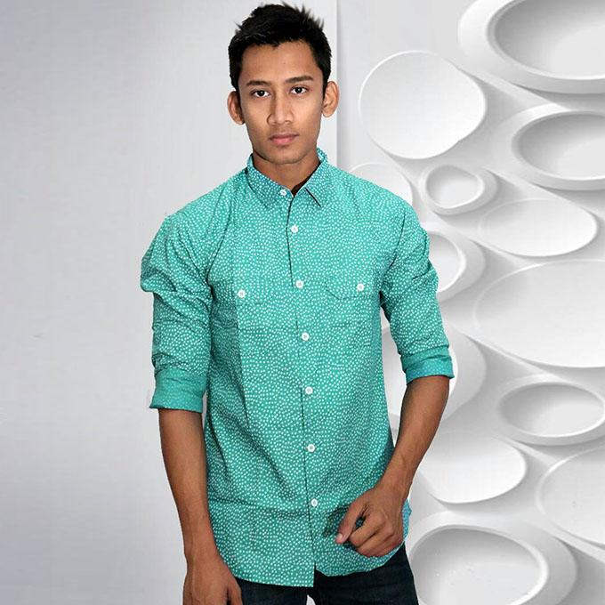 Ice Blue Printed Cotton Casual Long Sleeve Shirt For Men