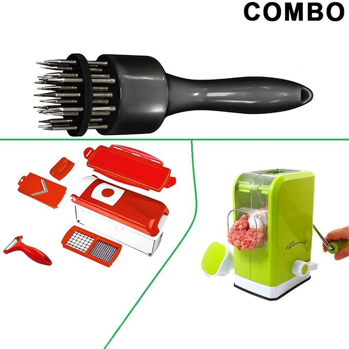 Meat Tenderizer with Meat Grinder and Nicer Dicer Combo set - Green and Black