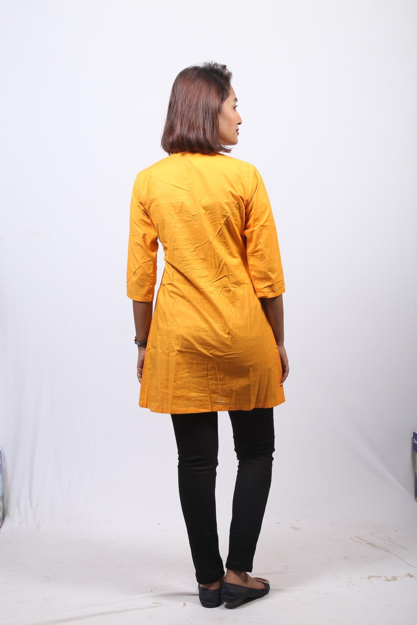 Orange Pintuck Kurti For Women