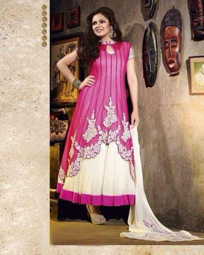 Pink and White Georgette Unstitched Anarkali for Women