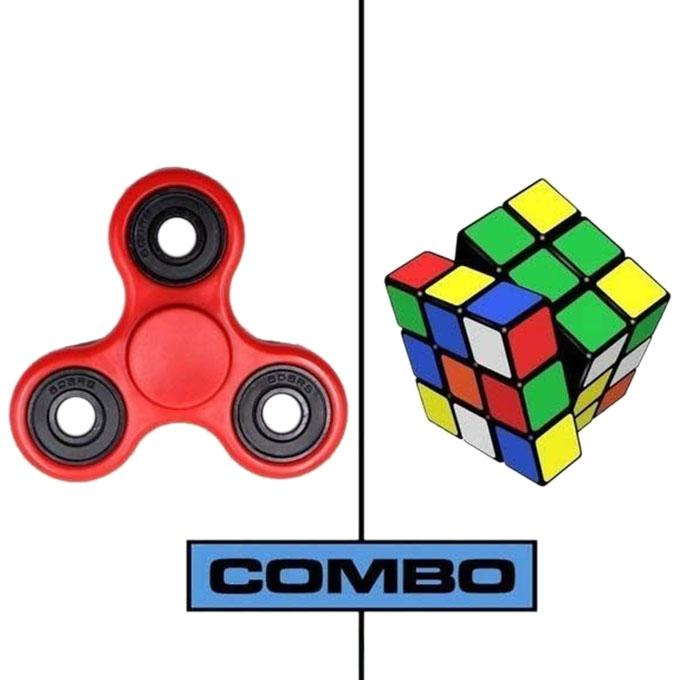 Combo Pack of Red Fidget Spinner and Rubik Magic Cube