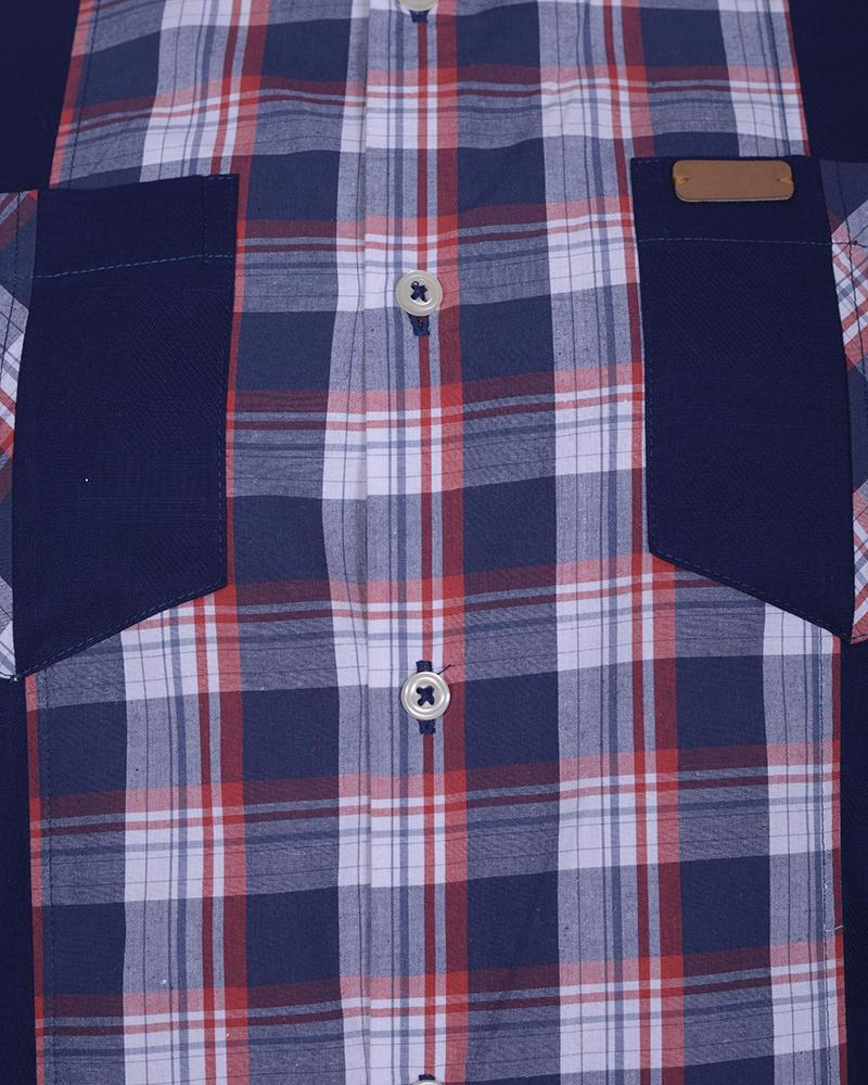 Cotton Casual Short Sleeve Shirt - Navy