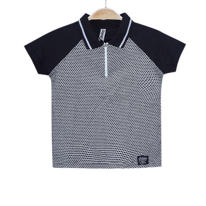 Gray and Black Cotton Polo Shirt For Boys