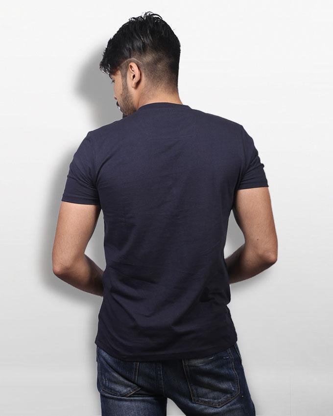 Navy Blue  Cotton T-shirt For Men