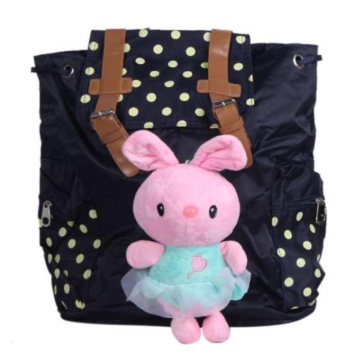 Black Polystar Backpack For Women