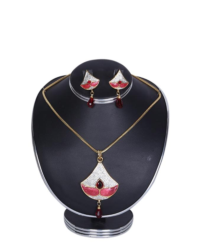 Diamond Cut Jewellery Set For Women - White and Pink