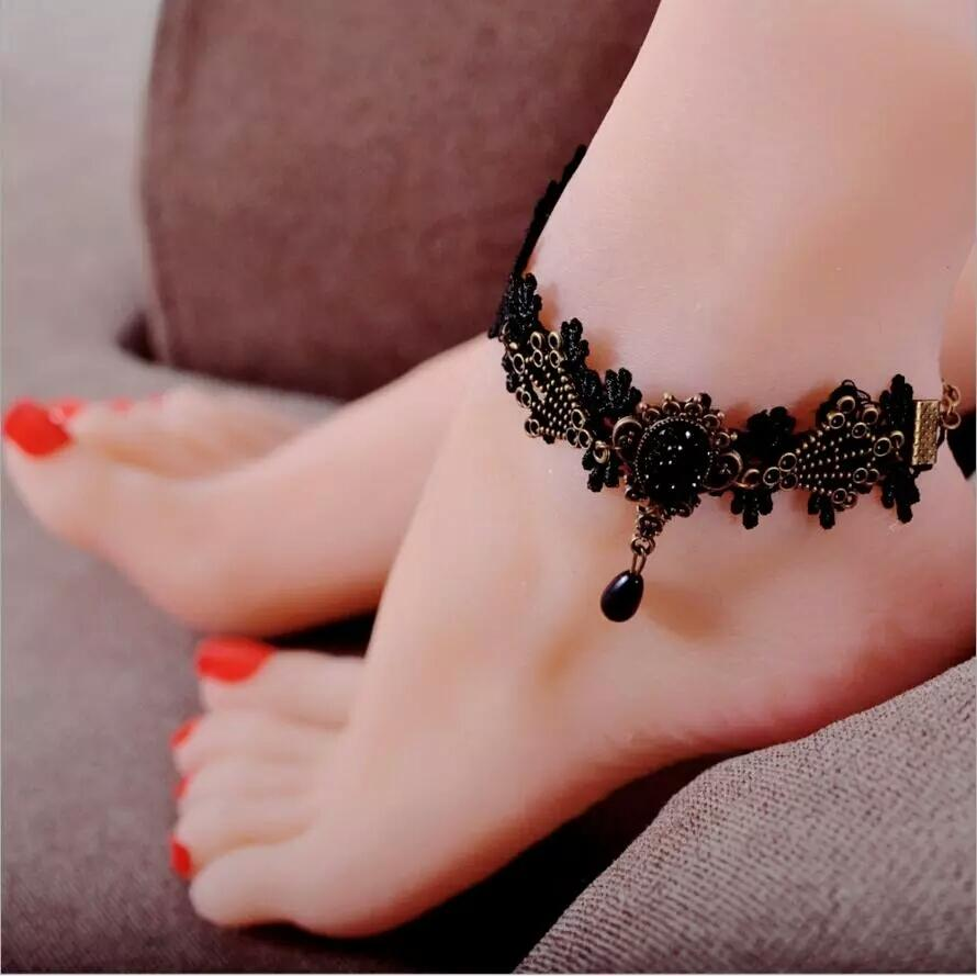 Black Lace with Black Stone Anklet For Women