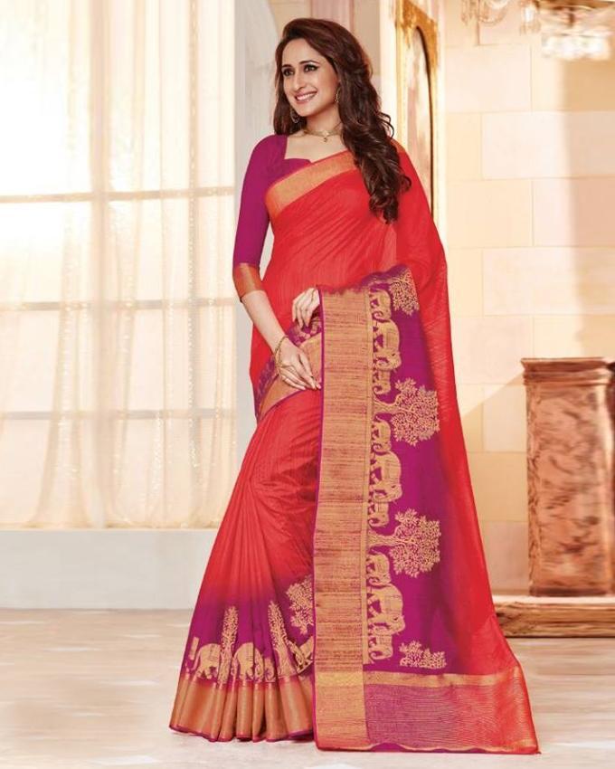 Multi-Color Silk Katan Saree for Women