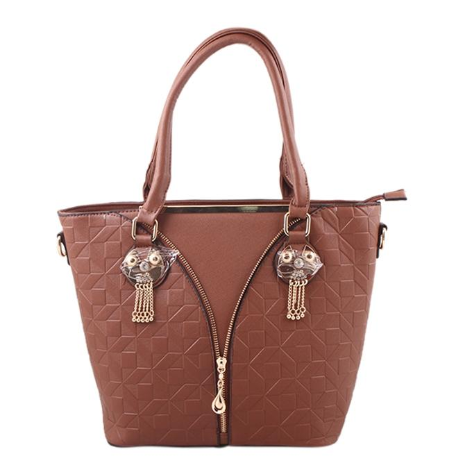Chocolate PU Leather Shoulder Bag For Women