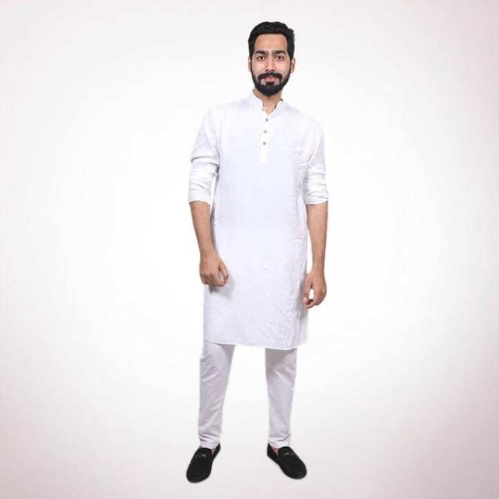 White Slub Slik Panjabi for Men