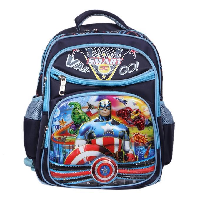 Navy Blue Polyester Backpack For Boys