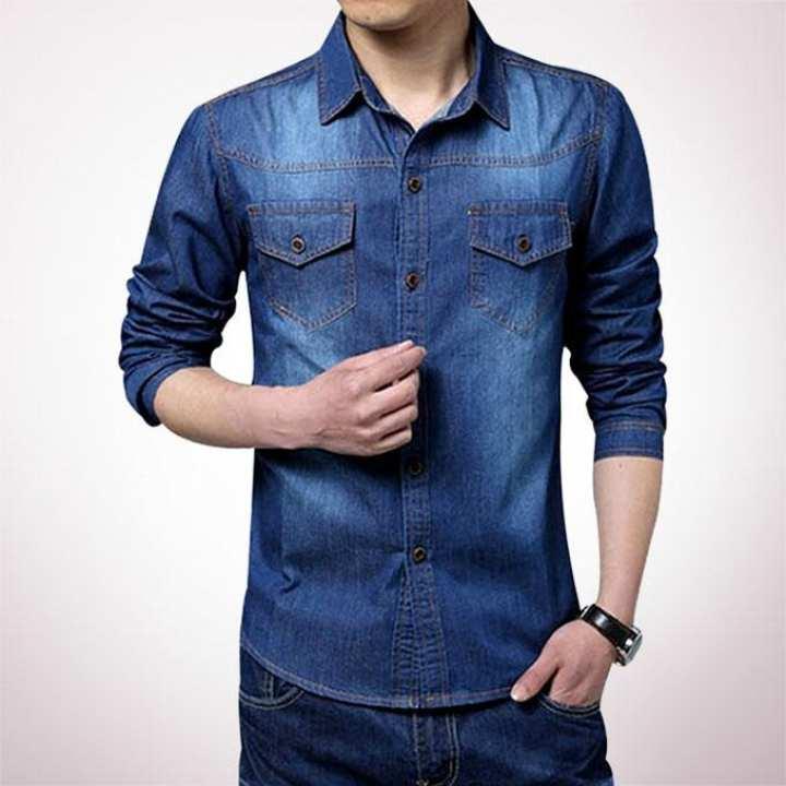 Navy Blue Denim Long Sleeve Casual Shirt for Men