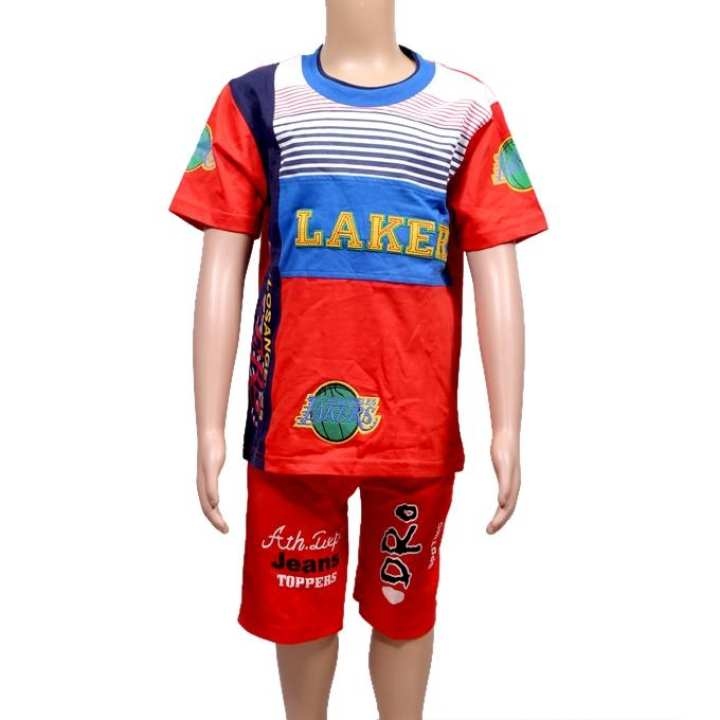 Multi Color Cotton T-Shirt And Pant For Boys