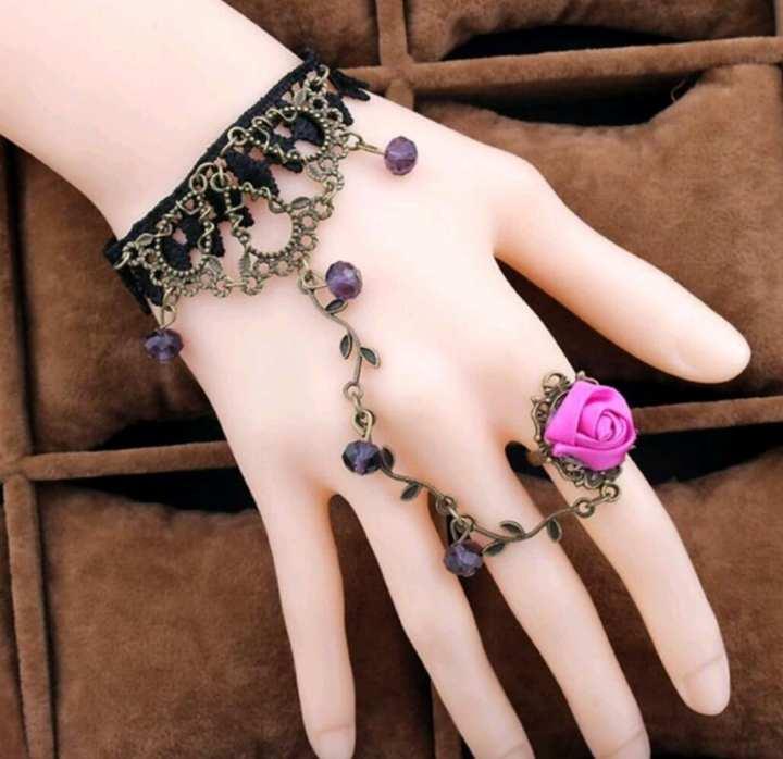 Black Bracelet with Ring For Women