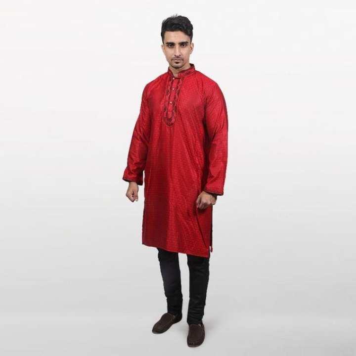 Red Cotton Panjabi For Men