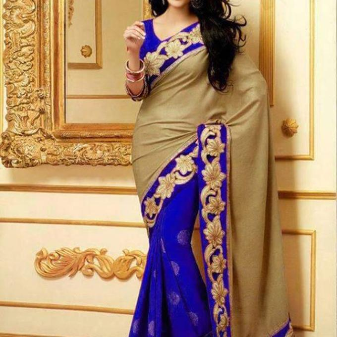 Golden and Blue - Georgette Sharee with Unstitched blouse piece