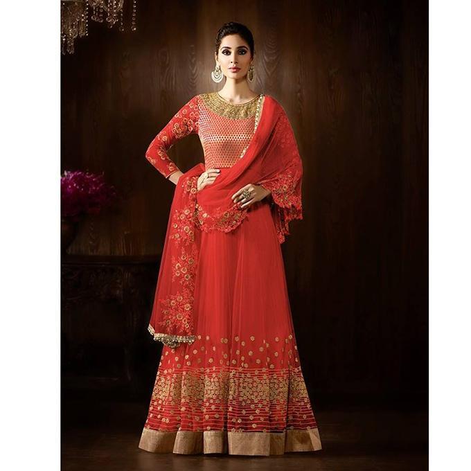 Red Georgette Semi Stitched Anarkali for Women