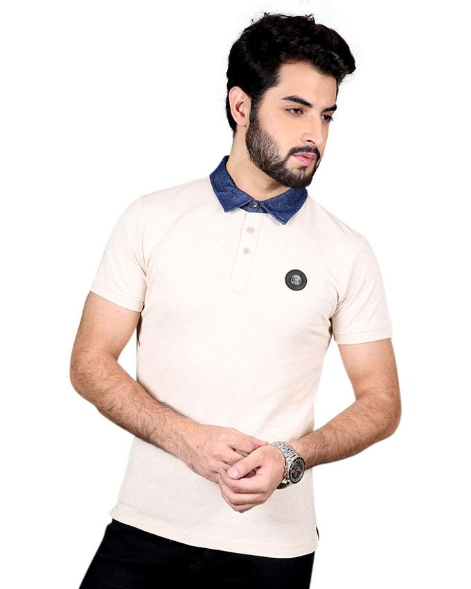 Misty Rose Cotton Casual Polo For Men