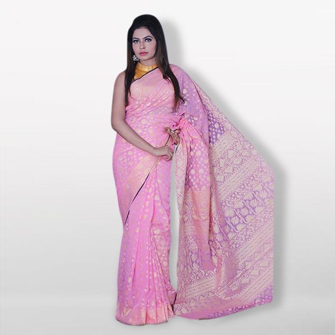Pink Silk Katan Sharee For Women