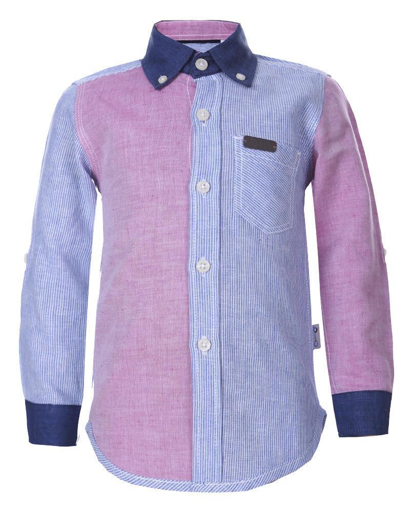 Boys Linen Long Sleeve Shirt - Pink