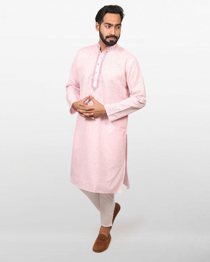 Light Pink Braso Cotton Panjabi for Men