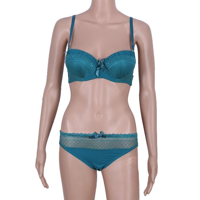 Sea Green Cotton Bikini Lingerie For Women