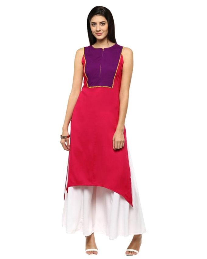 Magenta and Purple Linen Kurti for Women (Tailor Made)