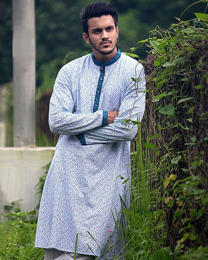 Cotton Casual Long Panjabi for Men - White And Blue