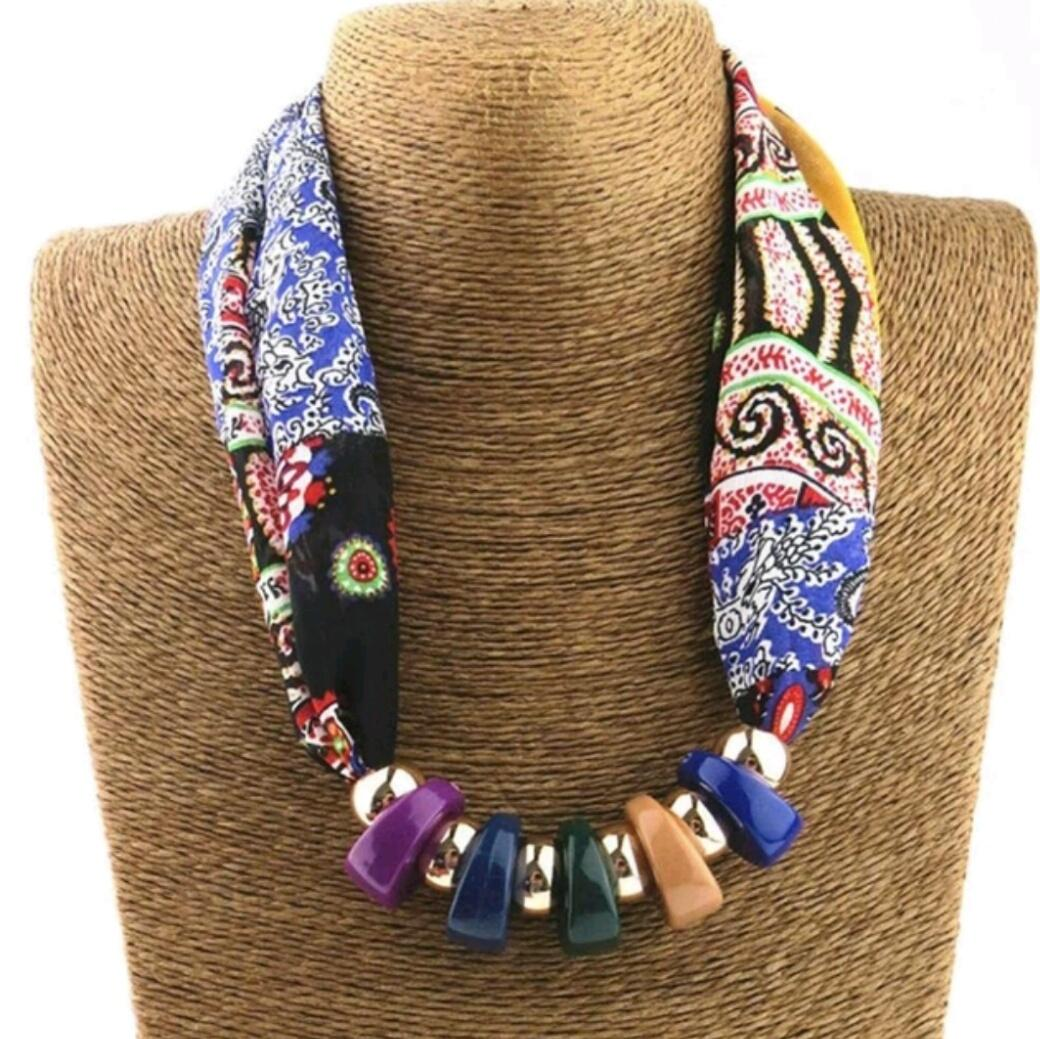 Multi-color Scarf Necklace for Women