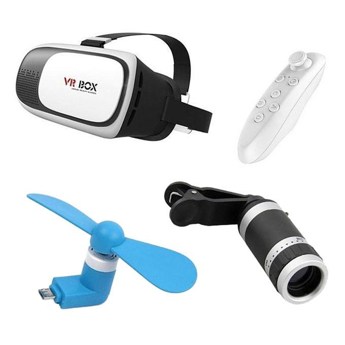 Pack of 3 - VR 3D Glasses with Remote + 8x Lens + Mobile Fan