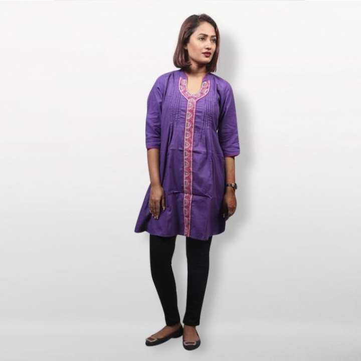 Purple Cotton Embroidery Kurti For Women