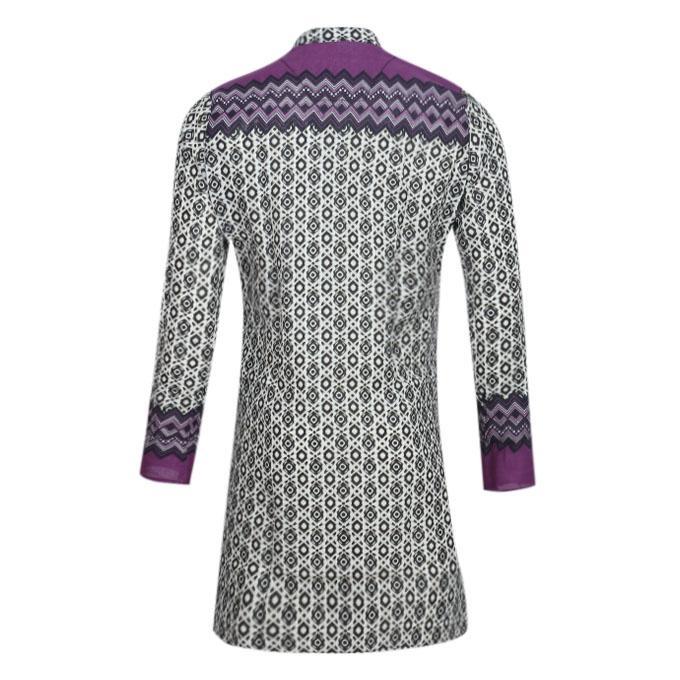 Gray and Purple Cotton Panjabi For Men