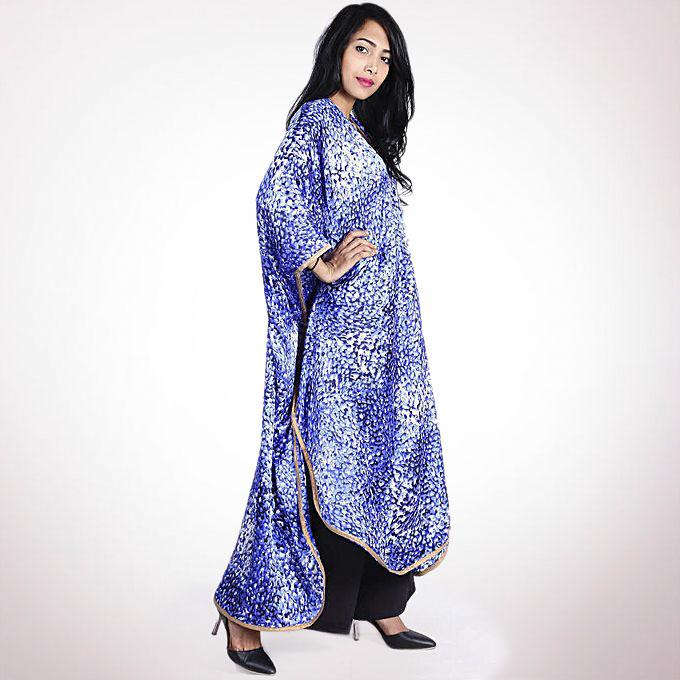 Pure Silk Casual Half Sleeved Cloak - Royal Blue