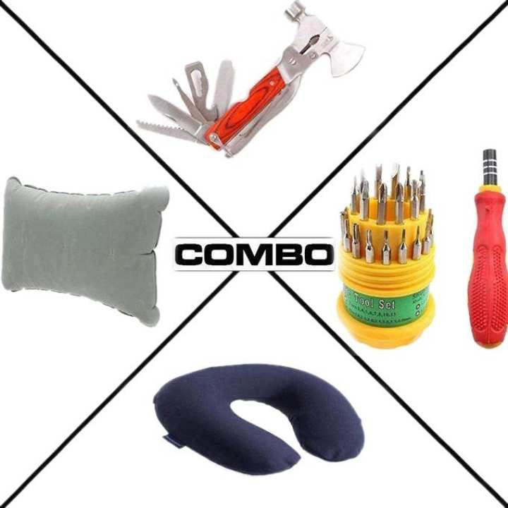 Combo Of Travel Pillow, Inflatable Air Pillow, Multi-Function Tool and Tools Set