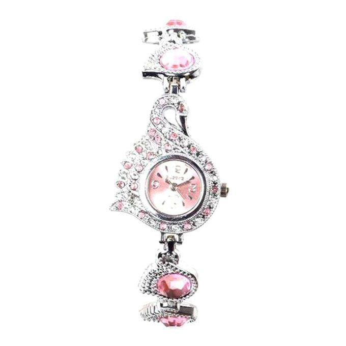 Stainless Steel Analog Watch for Women - Silver and Pink
