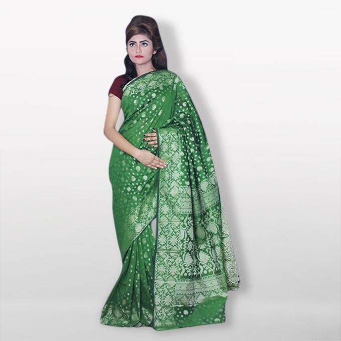 Green Silk Katan Sharee For Women