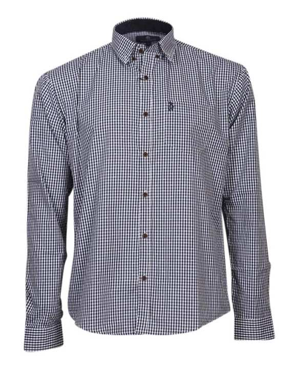 Cotton Formal Long Sleeves Shirt - White and Navy Blue