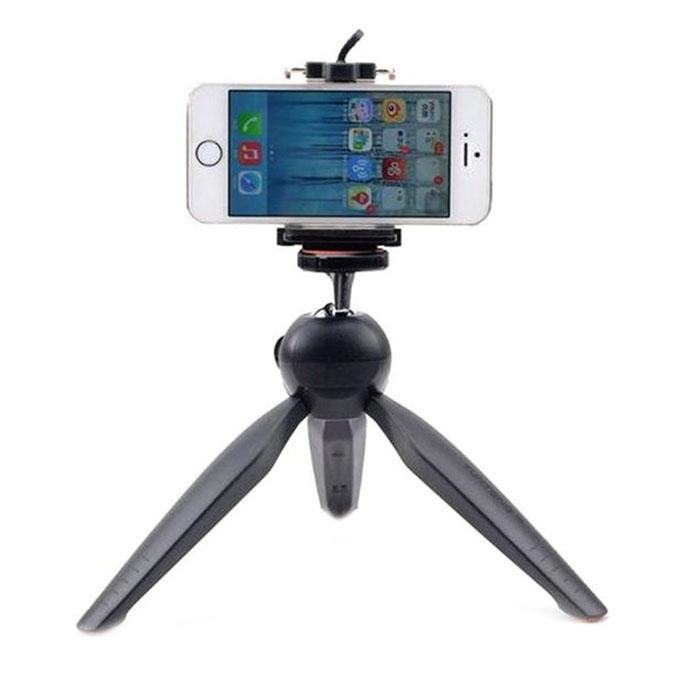 YunTeng 228 Mini Tripod with Phone Holder Clip for Smartphone - Black