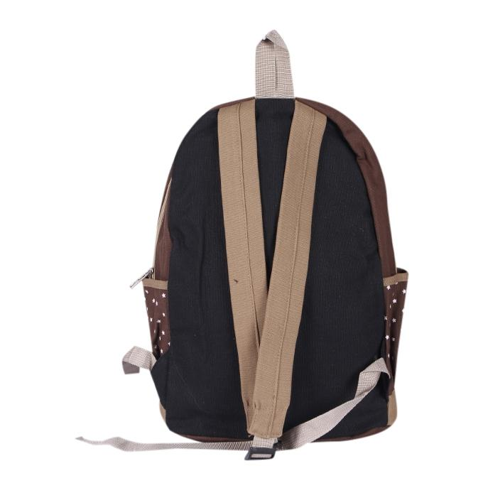 Light Brown Fabric Backpack For Women