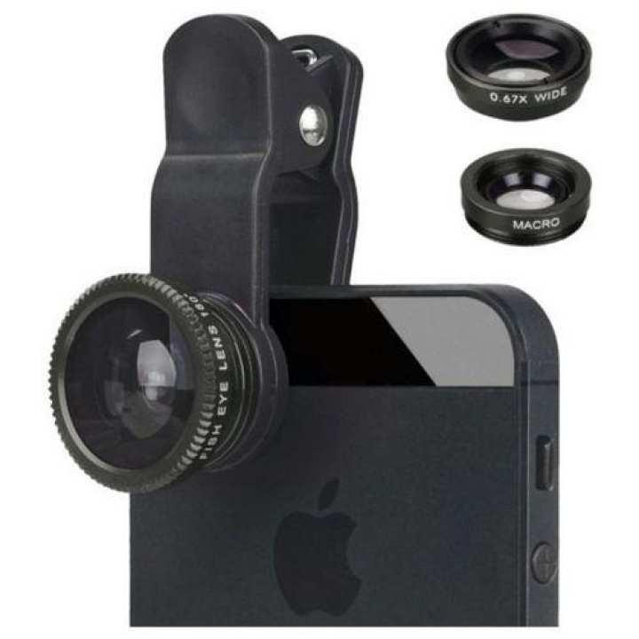 3 In 1 Clip Camera Lens (Fish Eye - Macro - Wide Angle) -Black