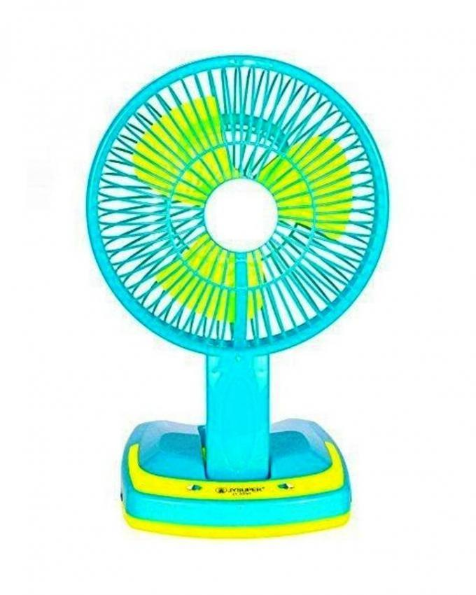 Rechargeable Folding Table Fan With Light - Blue