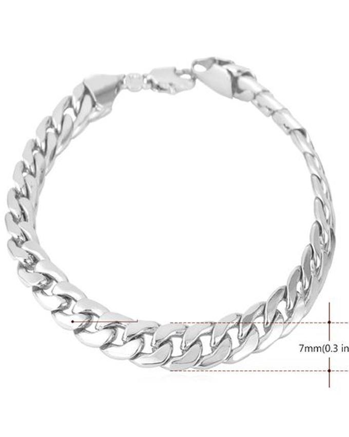 Silver Metal Bracelet For Men - Silver