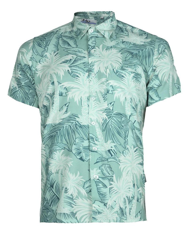 Viscose Casual Short Sleeve Shirt - Mint Print