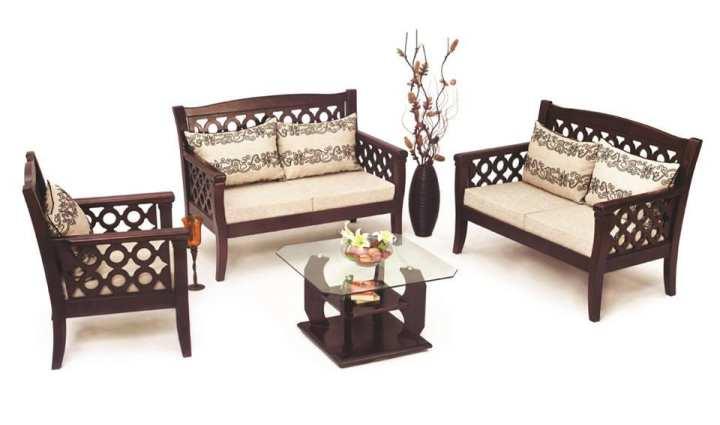 SA-154 - Malaysian Wood Slim Fit Design Sofa Set - Dark chocolate